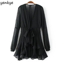 Women Black White Deep V Sexy Dress Front Wait Knotted Long Sleeve Casual Mini Chiffon Dresses