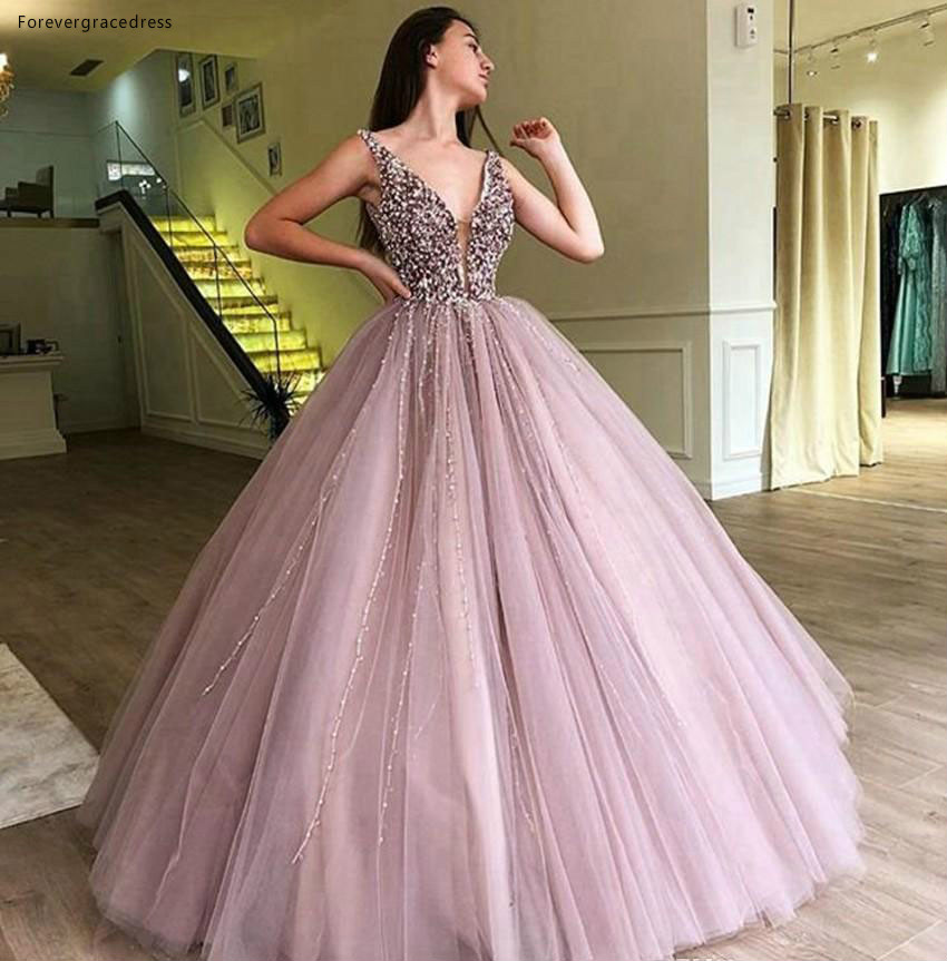 2019 Cheap Pink Long Quinceanera Dress Tulle Beaded Princess Sweet 16 Ages Girls Prom Party Pageant Gown Plus Size Custom Made