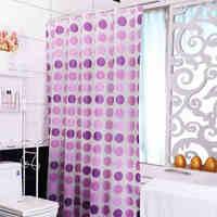 1 Pcs Purple PEVA Shower Curtains Bathroom Curtain Circle Waterproof Bath Curtains for Bathroom Products With Plastic Hooks