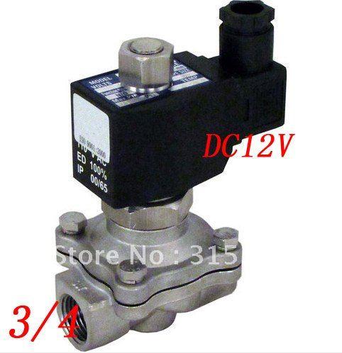 цена на Free Shipping 5PCS/Lot 12v 3/4 NC 2-way Stainless Steel Solenoid Valve VITON Oil Gas Acid Fluid Square Coil