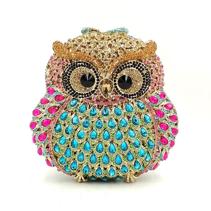 Projektowanie mody sprzęgła kobiet wieczór torebka imprezowa diamenty sowa ptak kształt kryształ torebki ślubne wesele kryształowe sprzęgła w Torby z uchwytem od Bagaże i torby na  Grupa 2