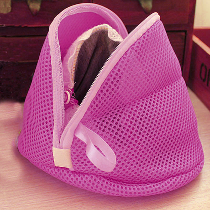 Women Bra Laundry Lingerie Washing Protect Bag Triangle Shape Housekeeping Hosiery Mesh Saver Small Bag Polyester Hot Pink