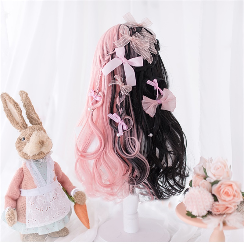 Black pink pastel goth wig 1