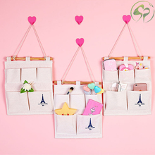 Cotton Linen Home Wall Hanging Storage Pocket Bag Mounted Wardrobe Pouch Cosmetic Toys Organizer
