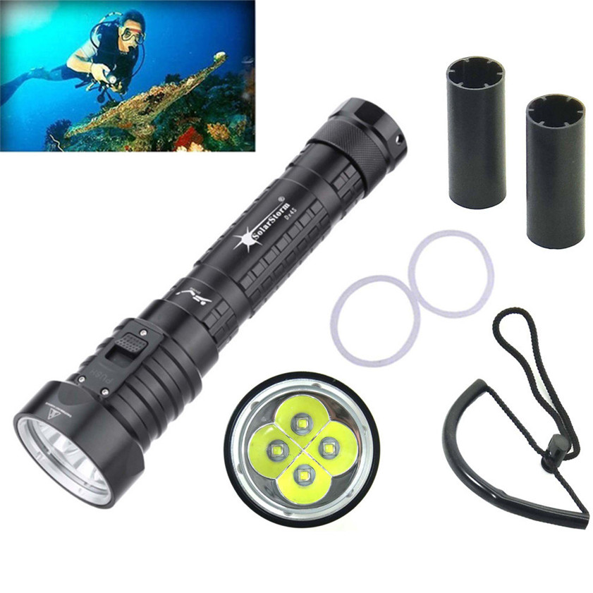 Super Diving Flashlight 4L2 Underwater Torch Brightness Waterproof 100m Light Torch 170621 nordic modern simple led decoration wood wall lamp creative circular restaurant bedroom bedside aisle balcony wall light