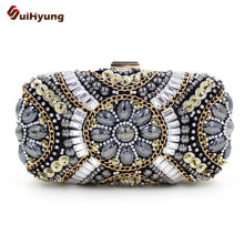 New Luxury Women Party Day Clutches Evening Bag Fashion Glitter Crystal Beads Chain Hard Box Clutch