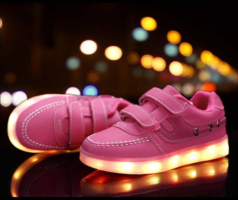 Children shoes with light 17 baby boys girls LED light shoes kids breathable fashion sneakers glowing USB charging shoes 8