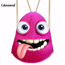 Coloranimal Emoji Smile Face Printing Women Backpack Fitness Yoga Shoes Drawstri