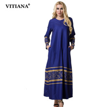 Women Vintage Maxi Long Chiffon Dress Blue Long SleevePlus Size 6XL