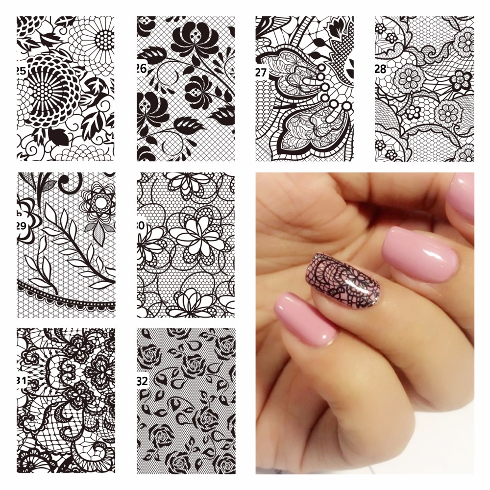 FWC DIY font b Nail b font Water Decals Lace Flower Designs Transfer Stickers font b