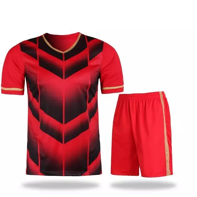 2016 new soccer jersey custom team uniforms red color kits cheap shirts wholesale jerseys with shorts with own design logos