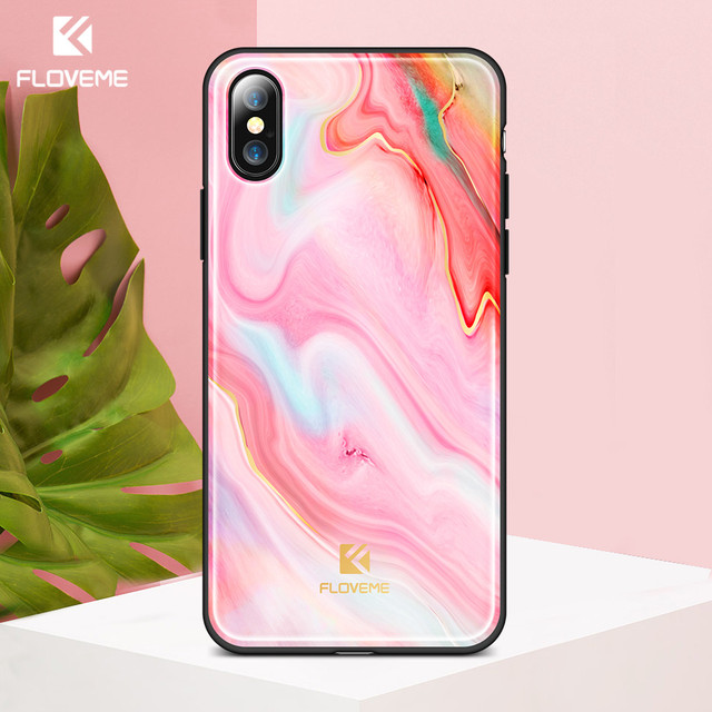 25db2d7cfca9 FLOVEME Colorful Girly Phone Cases for iPhone X Designer Silicon  Accessories Cover Cases for iPhone X 10 Woman INS Style Pink