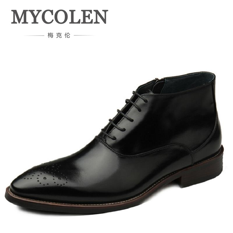 MYCOLEN Brand New Arrival Printing Men Boots High Quality Male Ankle Boots Casual Men Autumn Shoes Brogue Zapatos Hombre 2017 new arrival men s autumn winter jeans warm men brand jean high quality casual slim men jeans human face printed pants g249