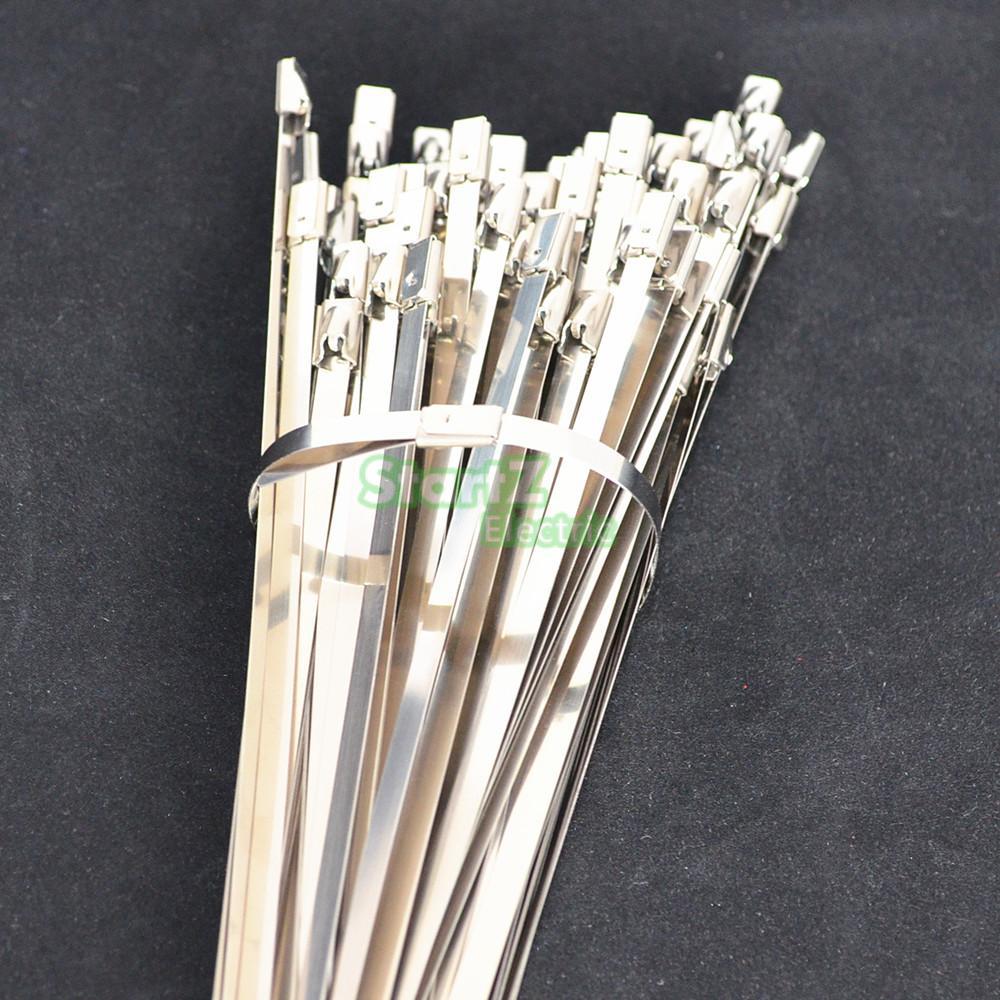 100 Stücke 4,6mm x 450mm Edelstahl Metall Kabelbinder Gurt Locking ...