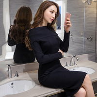 New Women Dress Knitting Slim A Word Shoulder Sexy Package Hip Dresses Black 296