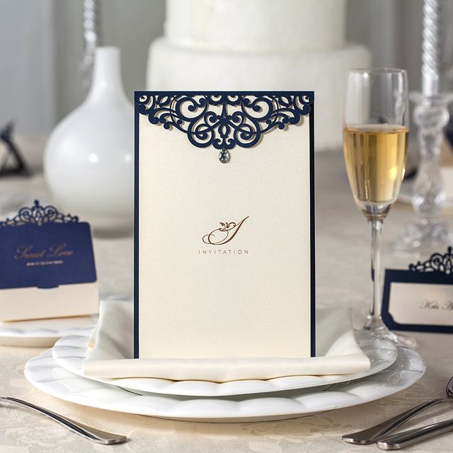 Laser Cut Deep Blue Color Wedding Invitation Card Table Menu