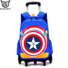 BAIJIAWEI Children School Bags With 3 Wheels Climb Stair Removable Trolley Backpack Boys Girls Bookbag Kids School Bags(China)