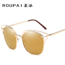ROUPAI HD Polarized Hot Aviation Man Or Women Cool Top Sunglasses Pilot Brand Designer Metal Ladies Shades Sun Glasses P0862