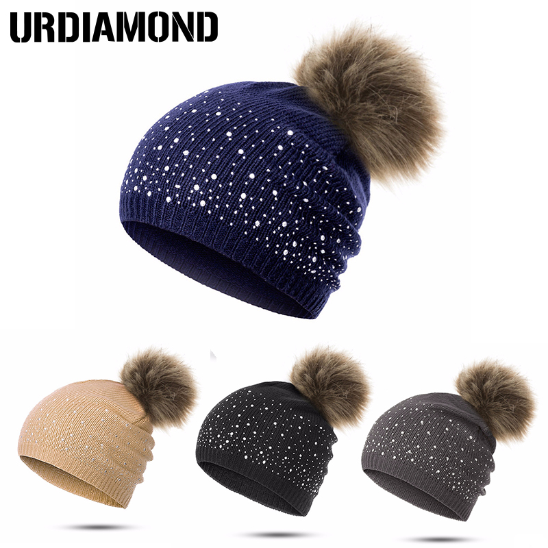 da03b4e21ef URDIAMOND Winter Hat Women Cute Hot Selling Casual Solid Drilling ball Cap  Warm Faux Fur Pom
