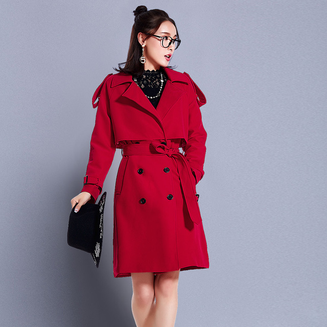 2017 Spring Trench Coat for Women Long Pink/Red/Black Loose British Style Desigual Coat elegant Female Overcoat Women's Clothing