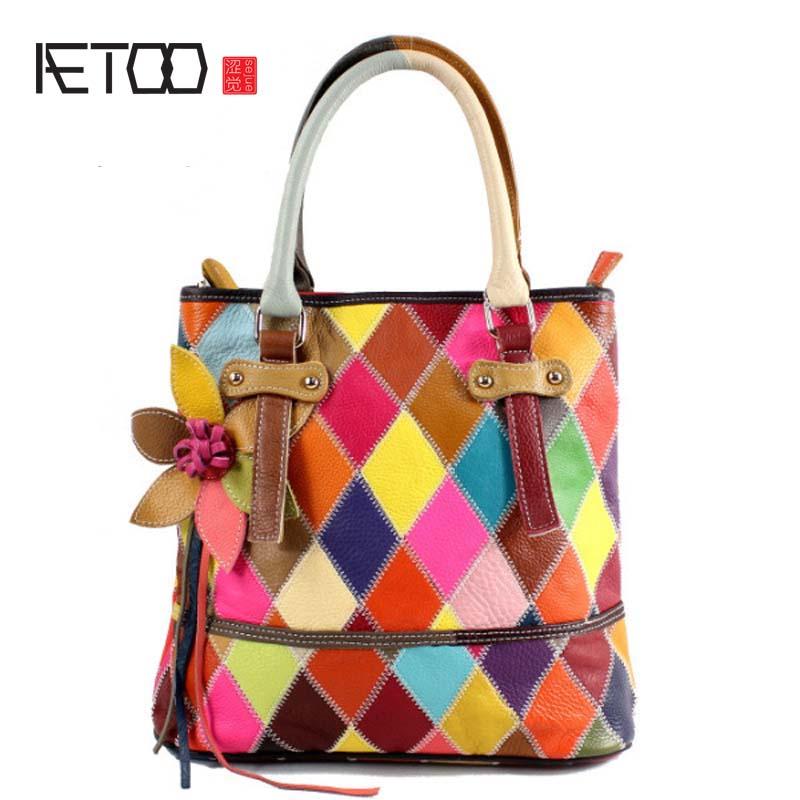 AETOO Women Genuine Leather Bag cowhide Messenger Bags Handbags Women Famous Brands Designer Female Handbag Shoulder