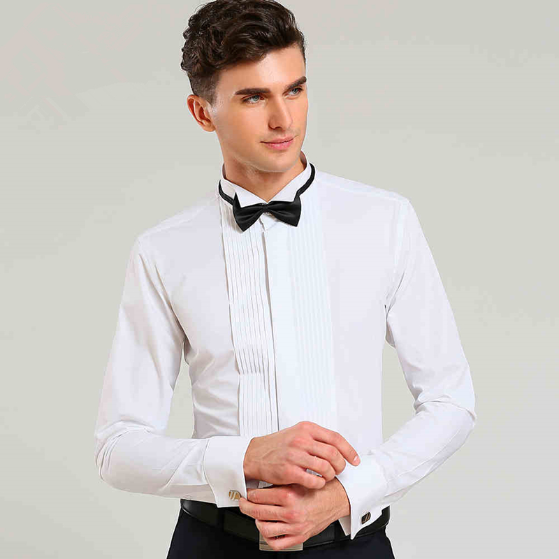 US $16.8 50% OFF|French Cuff Solid Color Wing Tip Collar Men Formal Dress Shirts Men's Tuxedo Shirts Bridegroom Wedding Shirts Men Stage Costume in