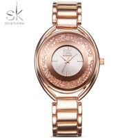 SK Brand Luxury Women Wrist Watches Fashion Rose Gold Silver Stainless Steel Women Quartz Dress Watch