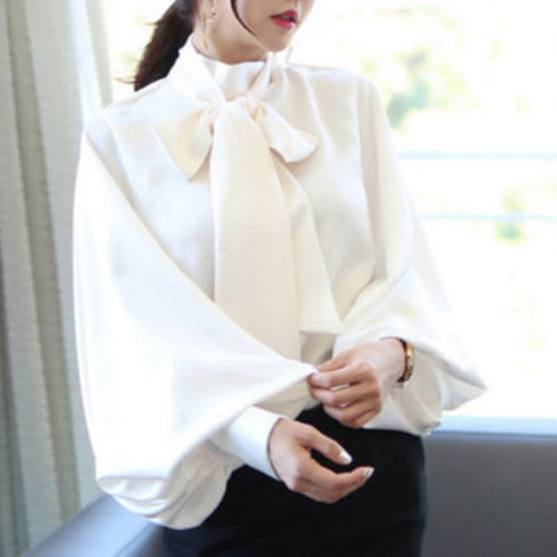 Fashion Women Vintage Satin Lantern Sleeve Shirt Bow Tie Neck Loose Elegant Blouse Top
