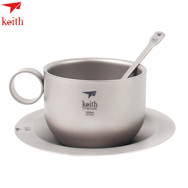 Keith Coffee Cup 150ml Double wall Titanium Mug Set Outdoor Tableware Tool With Spoon Ultralight 105g w/ Mesh Bag Ti3601