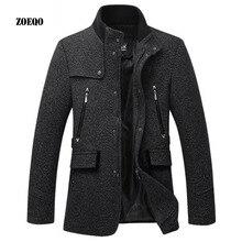 ZOEQO, шерстяная куртка, мужское повседневное пальто, приталенные куртки, модная верхняя одежда, мужская Весенняя осенняя куртка, пальто, бушлат размера плюс 3XL