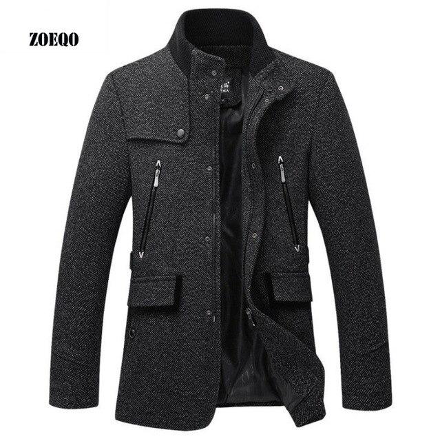 ZOEQO шерстяная куртка для мужчин повседневное пальто Slim Fit Куртки модная верхняя одежда человек демисезонный пальто бушлат