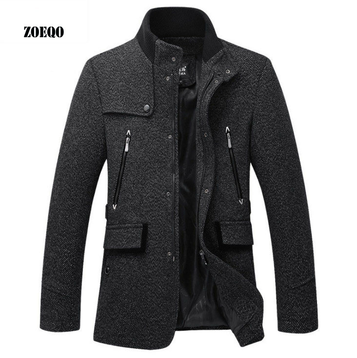 ZOEQO Wool Jacket Men Casual Coat Slim Fit Jackets Fashion Outerwear Man Spring Autumn Jacket Overcoat Pea Coat Plus Size 3XL