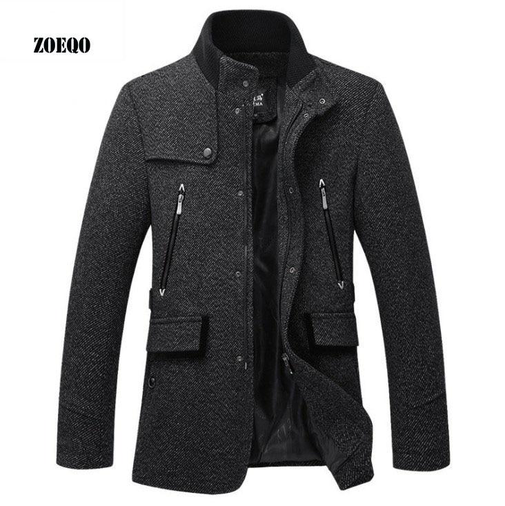 ZOEQO wool Jacket Men Casual Coat Slim Fit Jackets Fashion Outerwear Man spring autumn Jacket Overcoat Pea Coat Plus Size 3XL