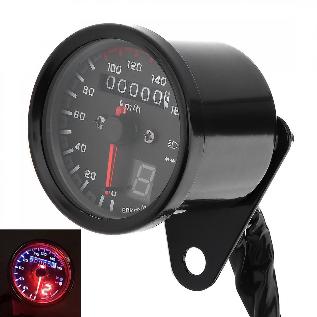 Dc 12v Universal 0~160km/h Motorcycle Speed Meter Gauge Refit Led Backlight With Gear Display Kilometer Speedometer