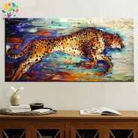 Hand Painted Canvas Picture Running Hunting Cheetah Canvas Art Oil Painting Leopard Picture Panther Wall Paintings