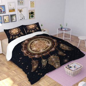 Image 2 - Gold color Dreamcatcher duvet cover Bedding set quilt Cover Bed Set 3pcs
