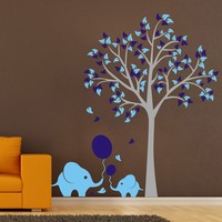 Custom High Quality Large Elephant Tree Wall Stickers Removable Kids Nursery Home Wall Decals Art Mural