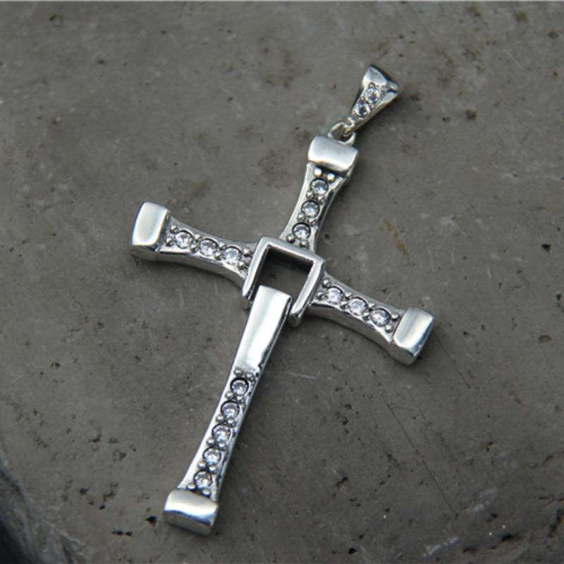 925 Sterling Silver Fast Furious Celebrity Vin Item Crystal Jesus Cross Necklace Pendant For Men Gift
