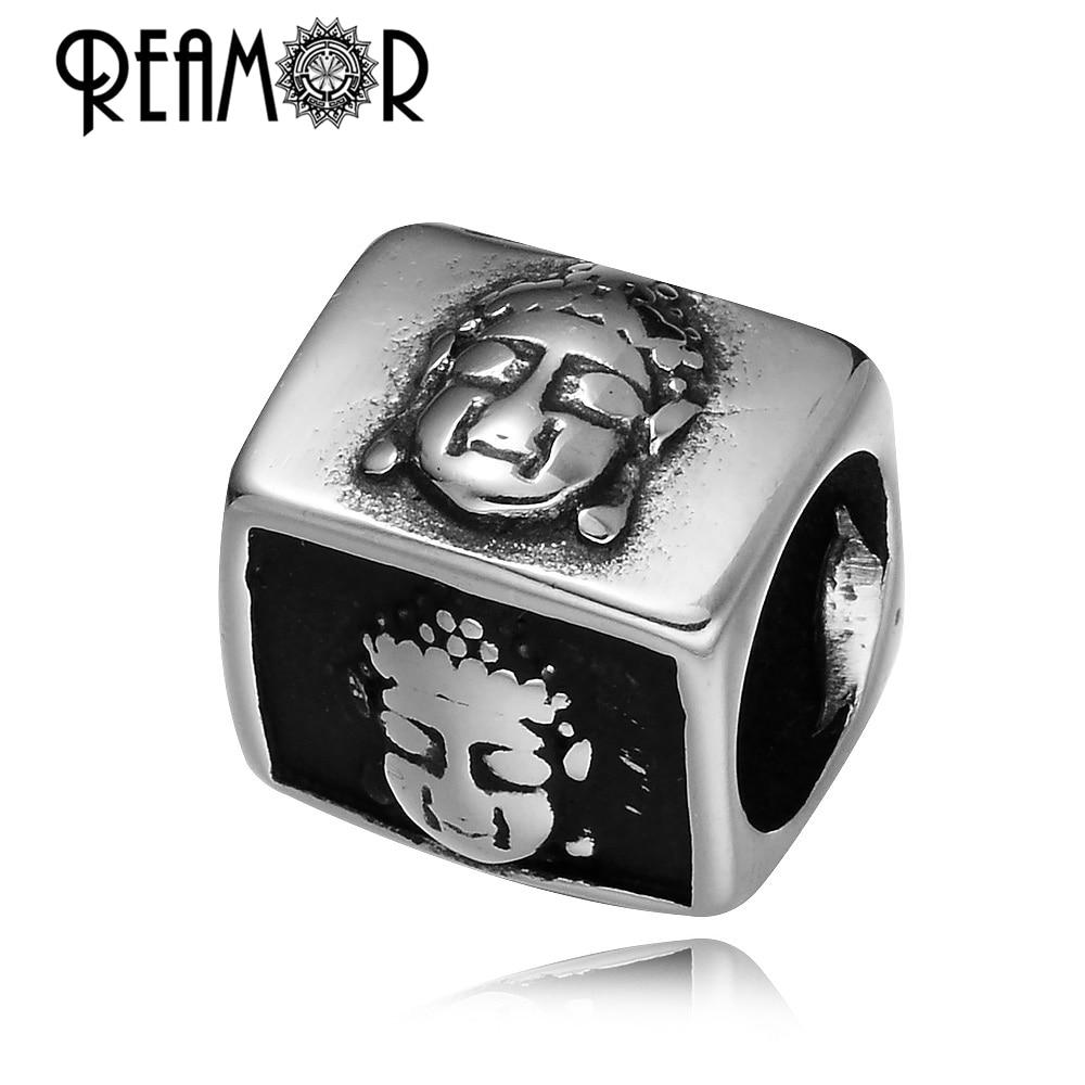 REAMOR visoko polirani Buddha Head 316L nerjaveče jeklo DIY dolg kovinski zapestnica kroglice velika luknja kroglice za nakit izdelava na debelo
