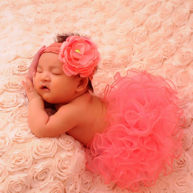 Newborn baby photography accessories girl tulle tutu skirt photo props headwear culottes crochet outfits children clothing