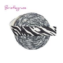 BRISTLEGRASS 5 Yard 5/8 15mm Zebra Stripe Print Shiny FOE Fold Over Elastic Spandex Band Hair Tie Headband Lace Trim DIY Sewing
