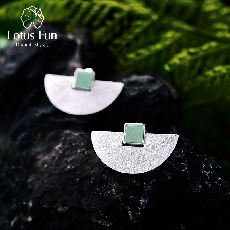 Lotus Fun réel 925 en argent Sterling pierre naturelle à la main bijoux fins de luxe et de mode Simple boucles d'oreilles pour les femmes Brincos