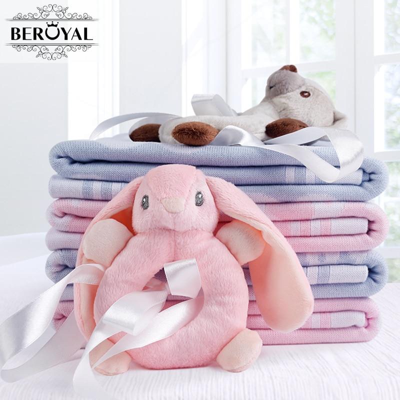 Beroyal Brand Comfort Baby Blanket - 1PC Cotton Throw Blankets Super Soft Cartoon Kids Blanket Children Bedding Set 75*100cm