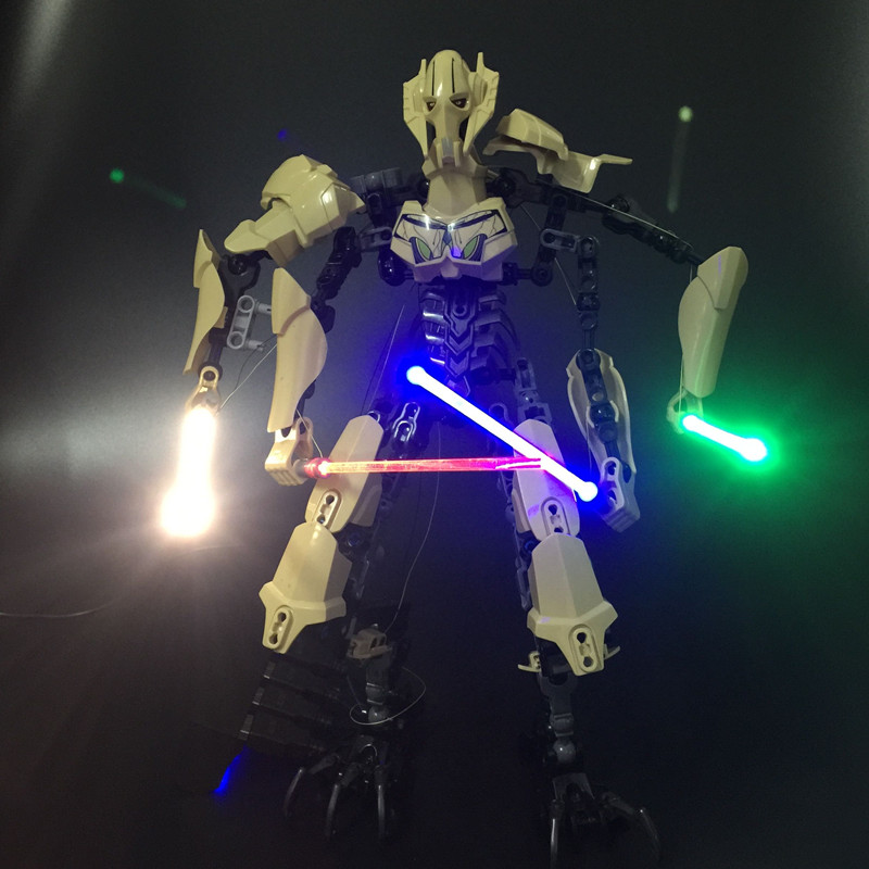 JULITE 1pcs LED light up lightsaber ( 12cm length) for lego figure Star Wars General Grievous Darth Vader White Storm Trooper