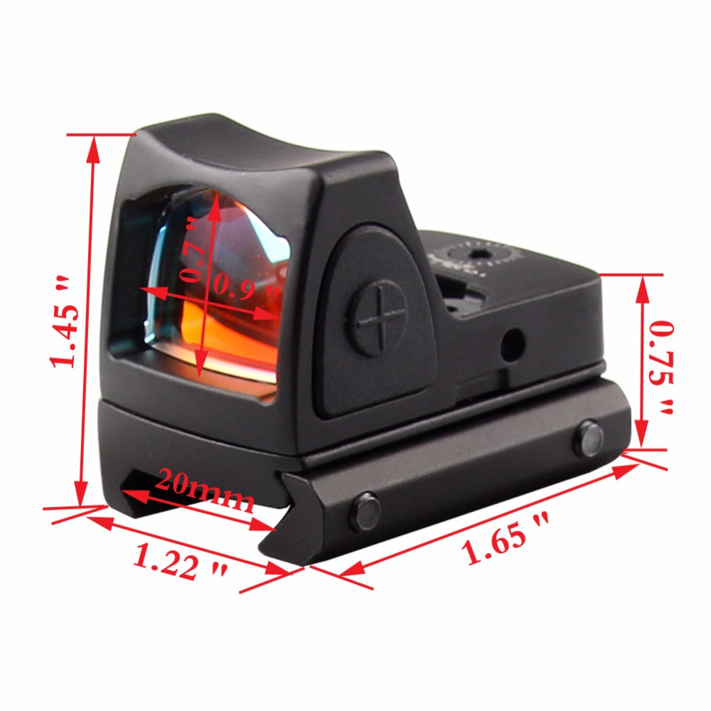 Mini RMR Red Dot Sight Collimator Glock / Shotgun Reflex Sight Scope fit 20mm Weaver Rail For Airsoft / Hunting Rifle RL5-0004 military tactical military rmr mini red dot sight reflex scope with picatinny rail for rifle hunting