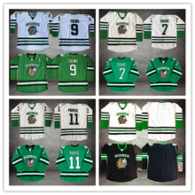 Horlohawk #11 Zach Parise  #9 Jonathan Toews #7 T.J. TJ Oshie North Dakota Fighting Sioux White Black Green Ice Hockey Jersey