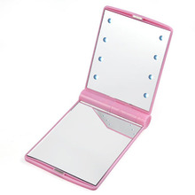 LED Pocket makeup mirror foldable with lights cosmetic – Pink