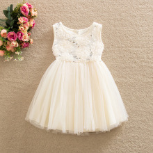 Wholesale new arrival girls princess lace floral veil dress kids Children's day party dress sleeveless dress