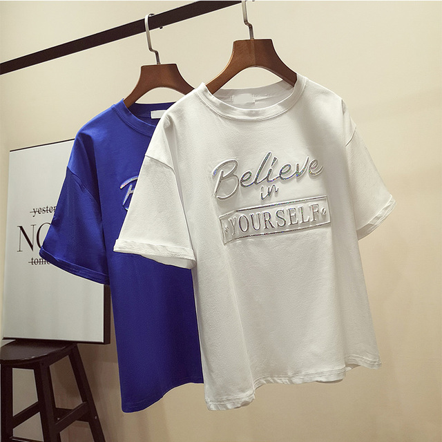 7c2442802 Zuolunouba New Casual Tops Short Sleeve Cotton Tees Girl Letter Believe In Your  Self Print O-neck Women T-shirts white Loose