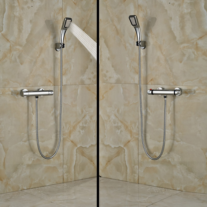 ФОТО Wall Mounted Bathroom Thermostatic Shower Mixers Handheld Shower Mixer Taps Chrome Finished
